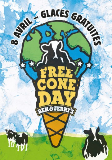 Affiche-Free-Cone-Day_Ben Jerry Brèves de blog Expressionsdenfants