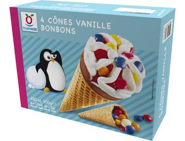 Cônes vanille bonbons_Toupargel_Glaces_Expressionsdenfants
