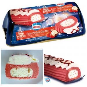 Une bûche glacée fraise chantilly pour les fêtes